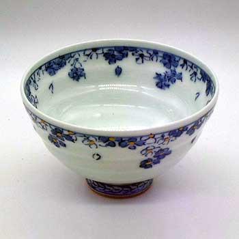 肥前陶磁器専門のオンラインショップ陶樹庵 有田焼 色絵 花散し めし碗 青