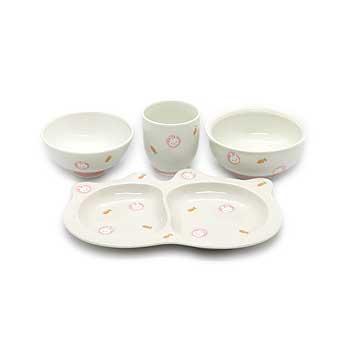 肥前陶磁器専門のオンラインショップ陶樹庵 子供用食器 ミニうさぎ 4点セット