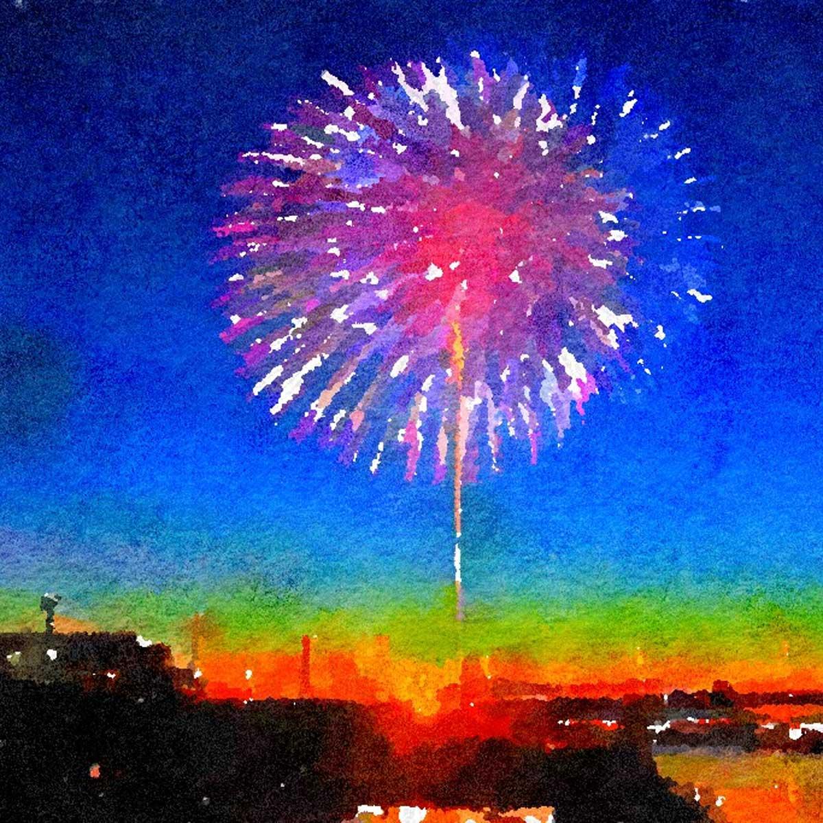 初冬琵琶湖に映える花火